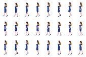 Air hostess Girl walk cycle animation sprites