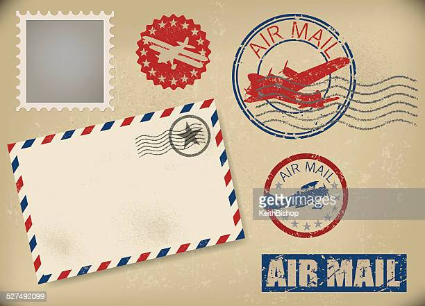 air mail backgrounds and stamps - retro - biplane stock illustrations, clip art, cartoons, & icons