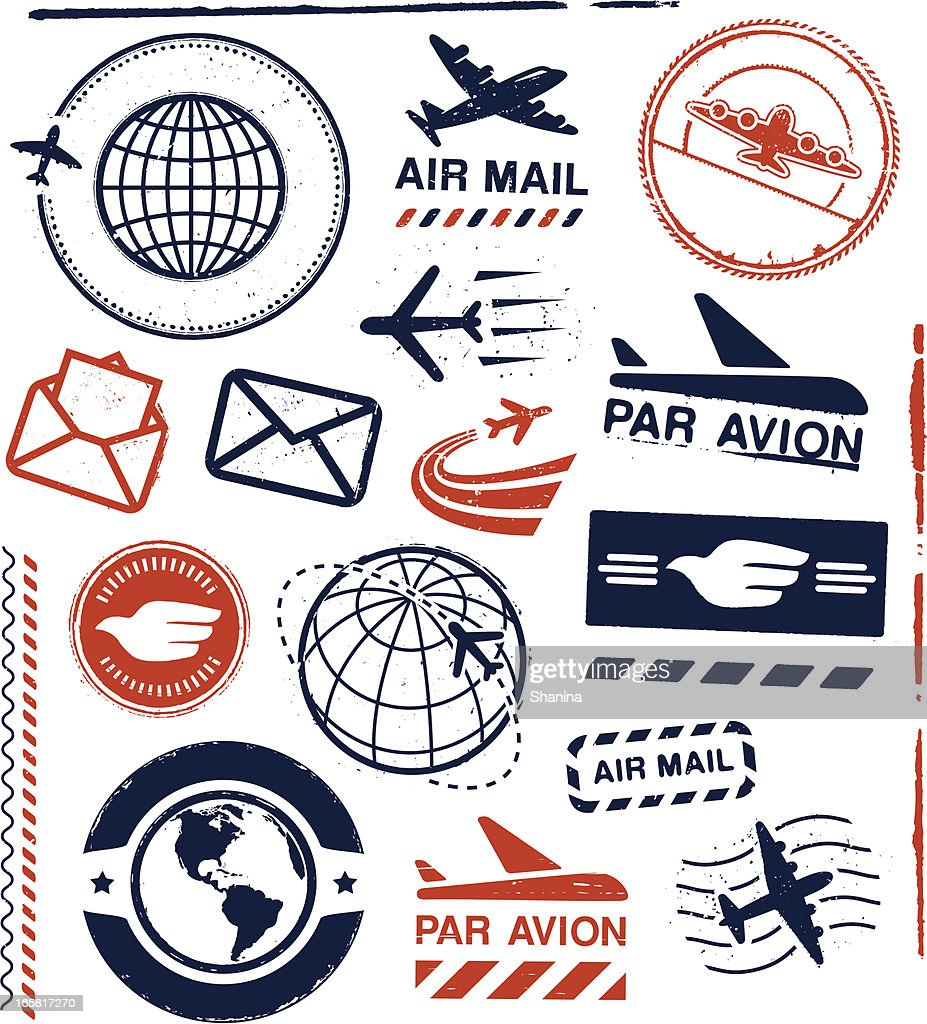 Air Mail Ruber Stamps and Seals