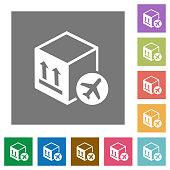 Air package transportation square flat icons