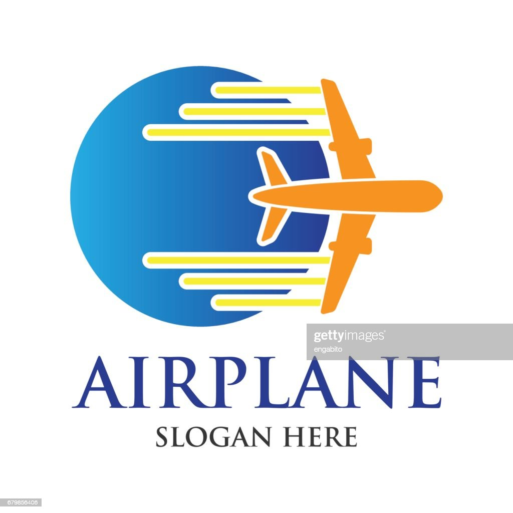 air plane icon, travel world icon with text space for your slogan / tag line, vector illustration