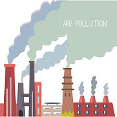 Air pollution background with pipes, vector graphic illustration