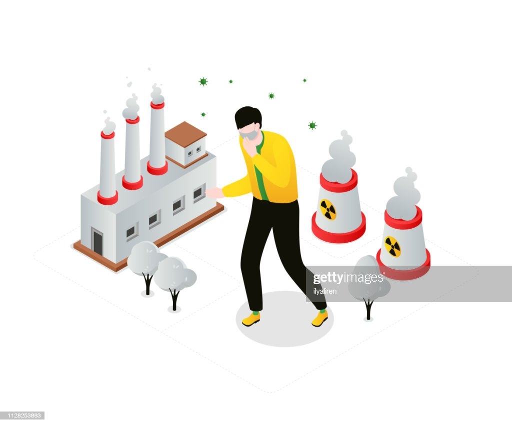 Air pollution - modern colorful isometric vector illustration