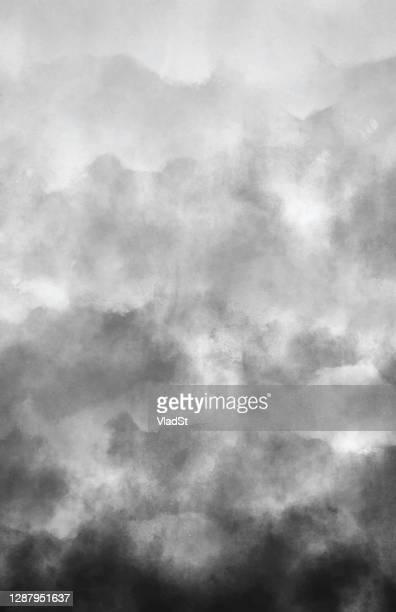 illustrations, cliparts, dessins animés et icônes de air pollution smoke gray clouds aquarelle grunge résumé fond avec copy space - monochrome image teintée