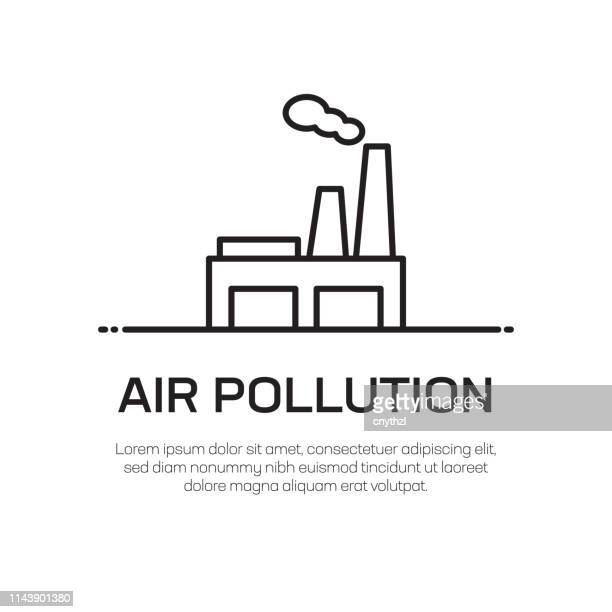 illustrazioni stock, clip art, cartoni animati e icone di tendenza di air pollution vector line icon - simple thin line icon, premium quality design element - inquinamento