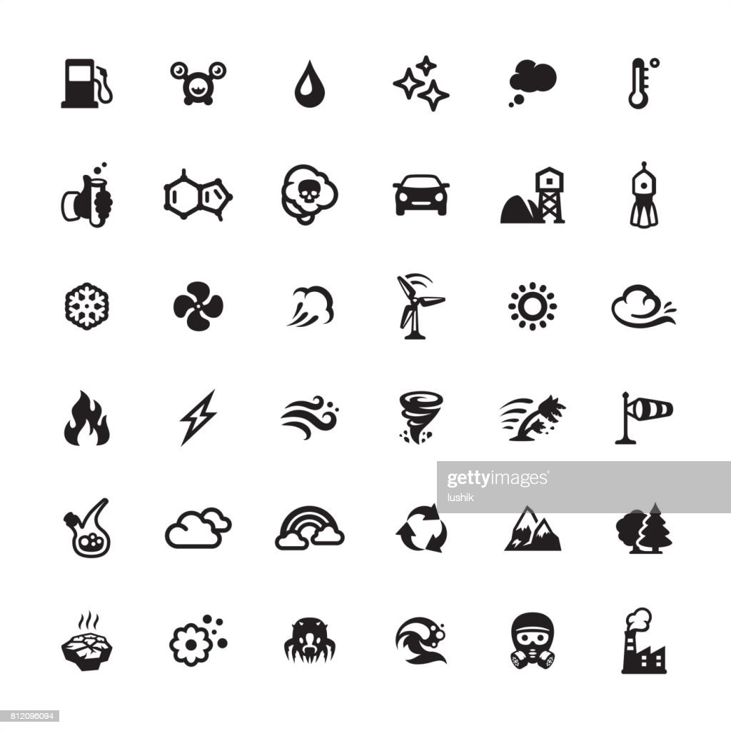 Air Purifier and Pollution icons set