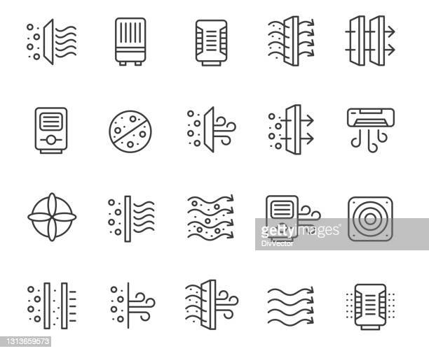 air purifiers icon set - humidifier stock illustrations