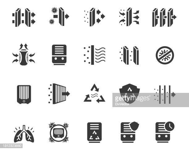 ilustraciones, imágenes clip art, dibujos animados e iconos de stock de conjunto de vectores purificadores de aire - filtración