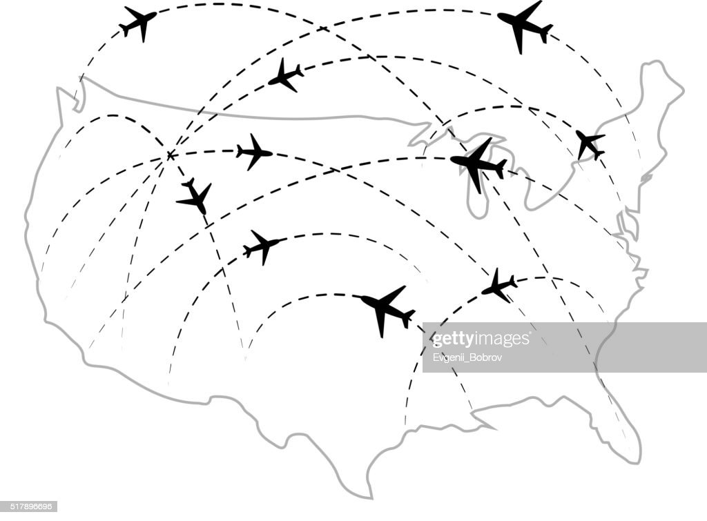 Air routes with black plane icons on USA map