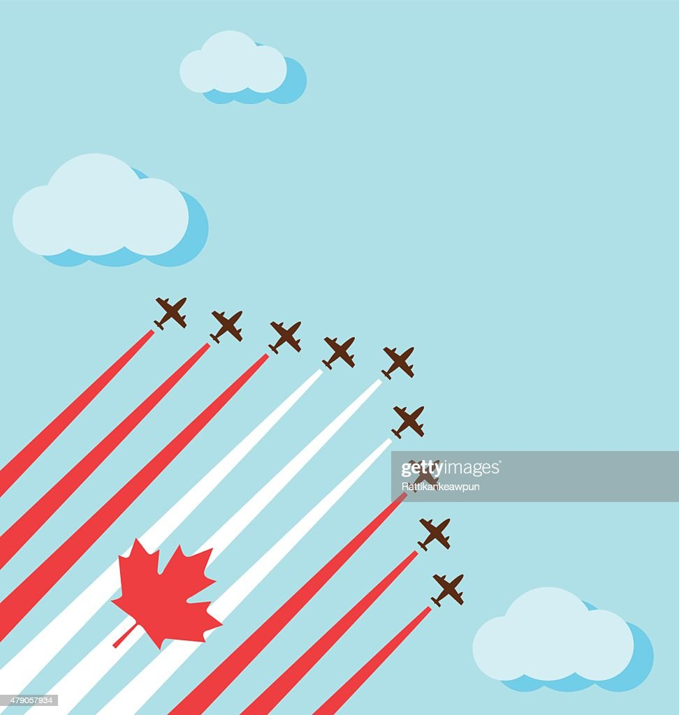 Air show on the sky for the national day of Canada