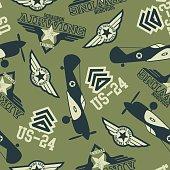 WW2 air squadron seamless pattern