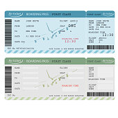 Air ticket with barcode, Airline boarding pass. Vector