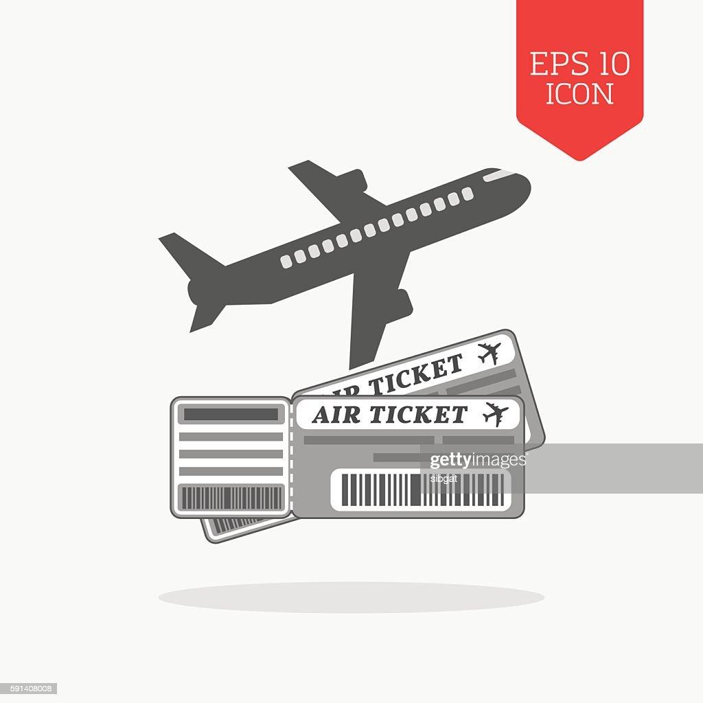 Air tickets concept icon. Flat design gray color symbol.