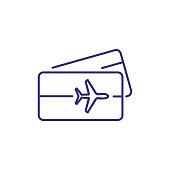 Air tickets line icon