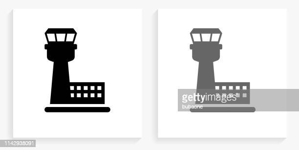 air traffic control tower black and white square icon - tower stock illustrations