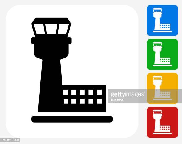 air traffic control tower icon flat graphic design - air vehicle stock illustrations, clip art, cartoons, & icons
