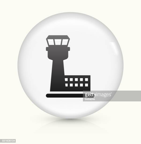 Air Traffic Control Tower icon on white round vector button