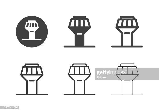 air traffic control tower icons - multi series - control tower stock illustrations