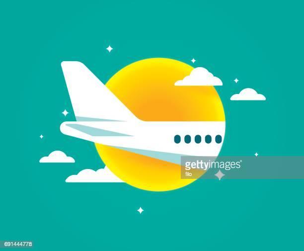 air travel flugzeug fliegen - flugzeugheck stock-grafiken, -clipart, -cartoons und -symbole