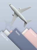 Air travel banner with plane on the blue background - vacation and travel concept design. Banner with photo realistic airplane. Vector illustration