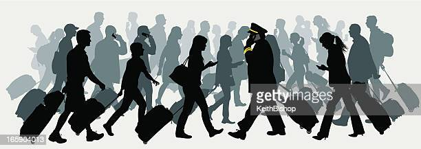 air travel, busy travelers, business, vacation tourist - business travel stock illustrations, clip art, cartoons, & icons