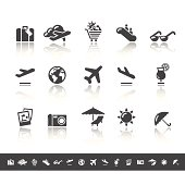 Air Travel & Holidays Icons | Simple Grey
