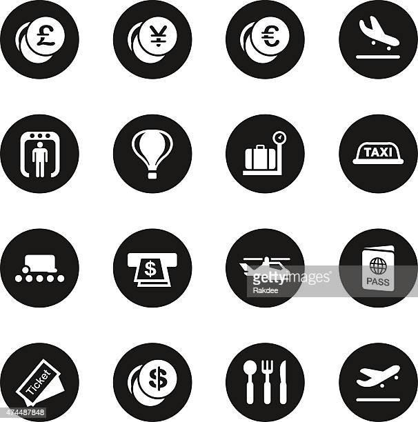 Air Travel Icons - Black Circle Series