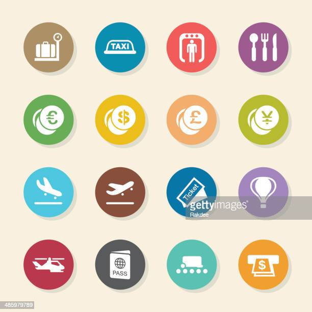 air travel icons - color circle series - airport terminal stock illustrations, clip art, cartoons, & icons
