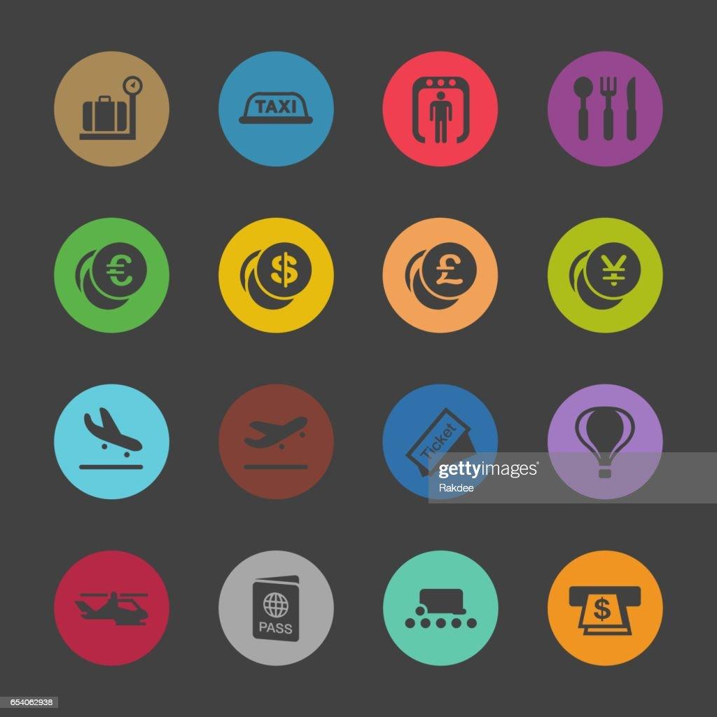 Air Travel Icons - Color Circle Series