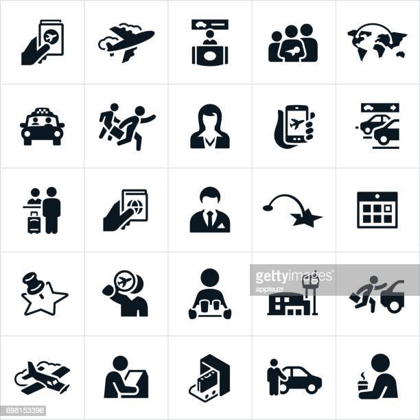 air travel icons - business travel stock illustrations, clip art, cartoons, & icons