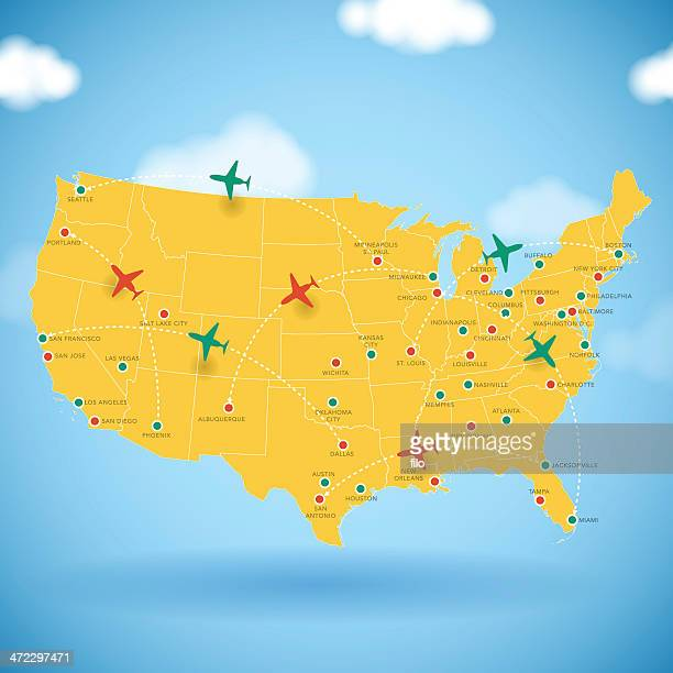 usa air travel map - flying stock illustrations