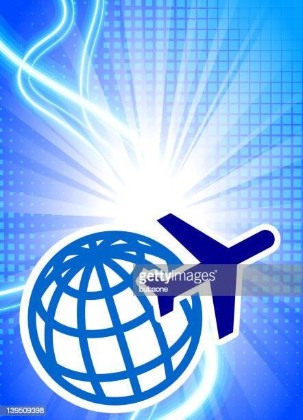 air travel lizenzfreie Vektorgrafiken auf moderne blauem Hintergrund