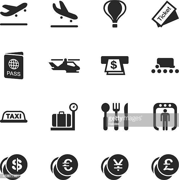 air travel silhouette icons - security scanner stock illustrations