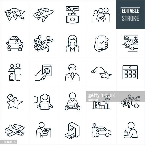 air travel thin line icons - editable stroke - passenger stock illustrations