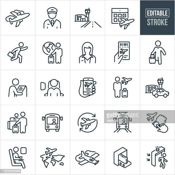 air travel thin line icons - editable stroke - security scanner stock illustrations