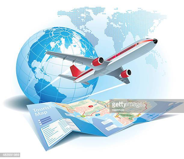 air travel - cartography stock illustrations