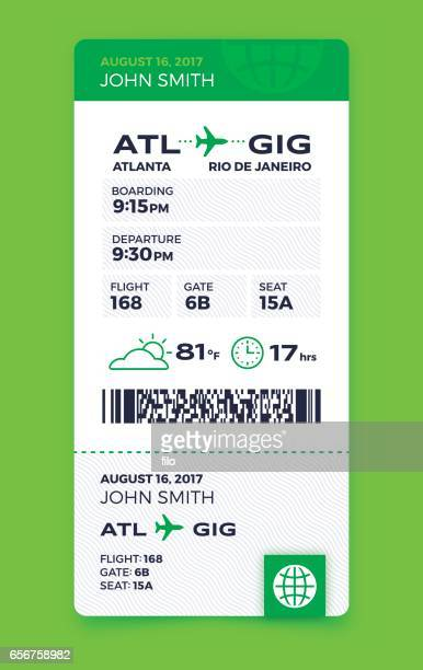 air travel vertical boarding pass - thoroughfare stock illustrations, clip art, cartoons, & icons