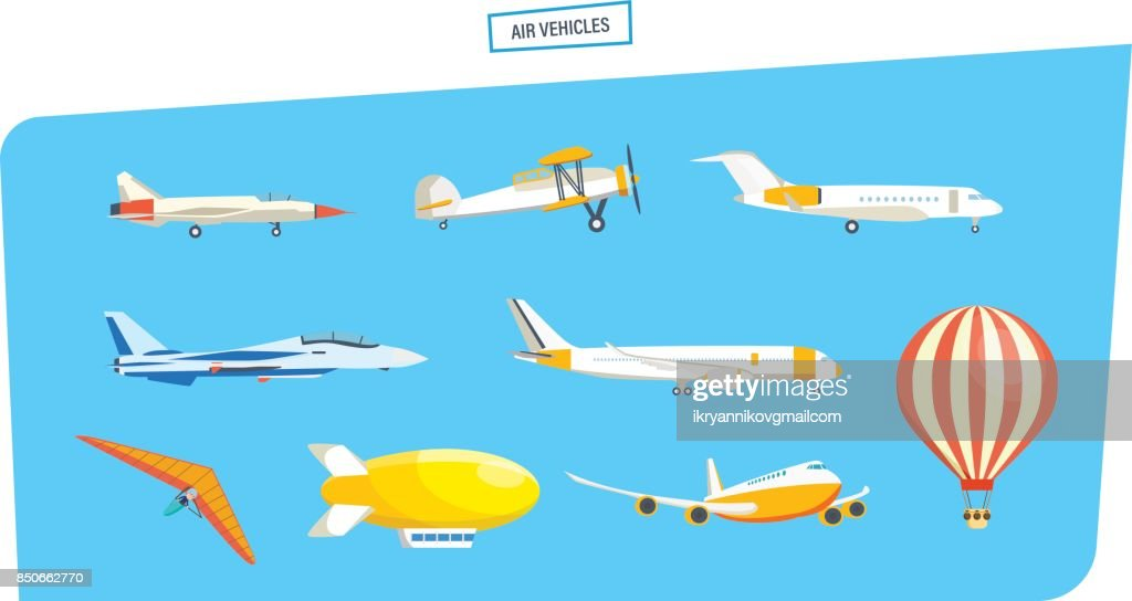 Air vehicles: missile, hang-glider, helicopter, airship, balloon, paraglider, glider, aircraft