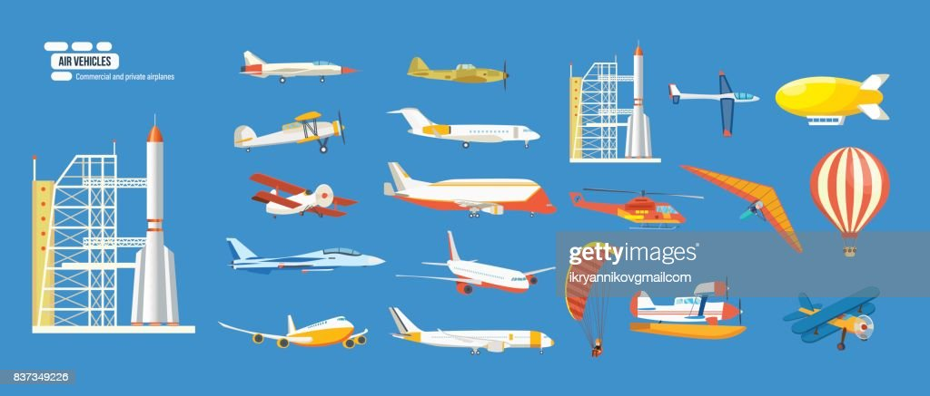 Air vehicles: missile, helicopter, airship, balloon, paraglider, biplane, glider, aircrafts