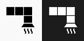 Air Vent Icon on Black and White Vector Backgrounds