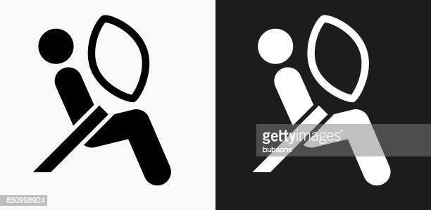 Airbag Test Icon on Black and White Vector Backgrounds