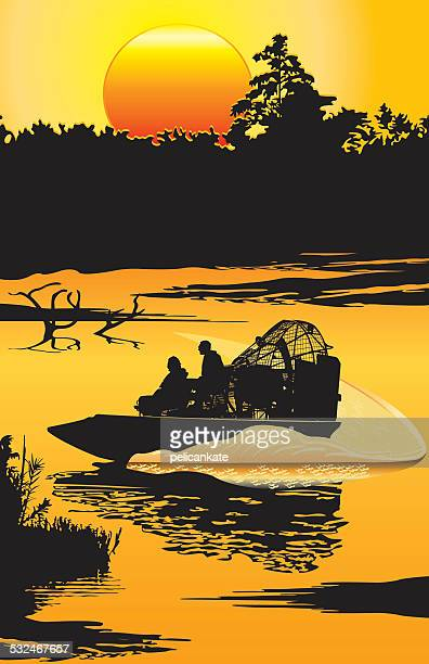 Airboat at Sunset