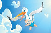 Airborne baby with the white stork