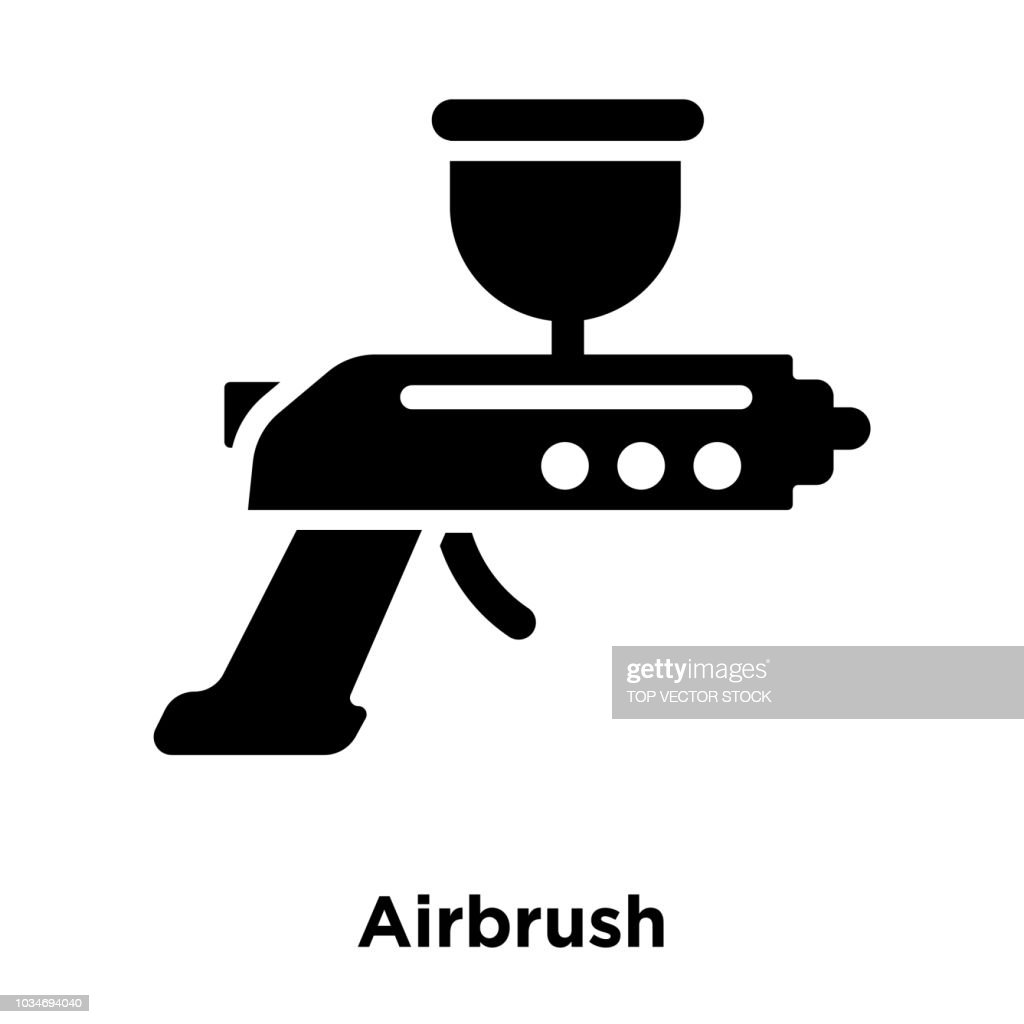 Airbrush icon vector isolated on white background, logo concept of Airbrush sign on transparent background, black filled symbol