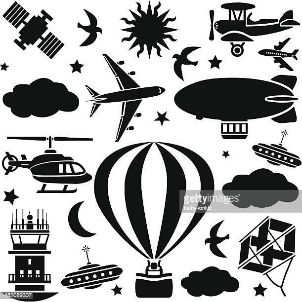 aircraft design elements - biplane stock illustrations, clip art, cartoons, & icons