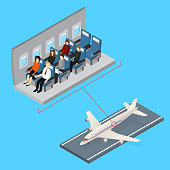 Aircraft Interior and Plane Isometric View. Vector