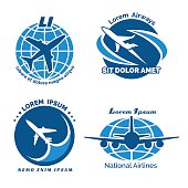 Aircraft logo vector emblems set