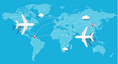 aircraft, Plane flying, world map, earth