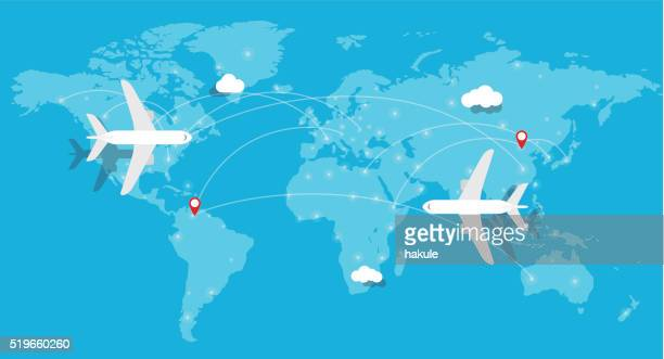 aircraft, plane flying, world map, earth - flying stock illustrations