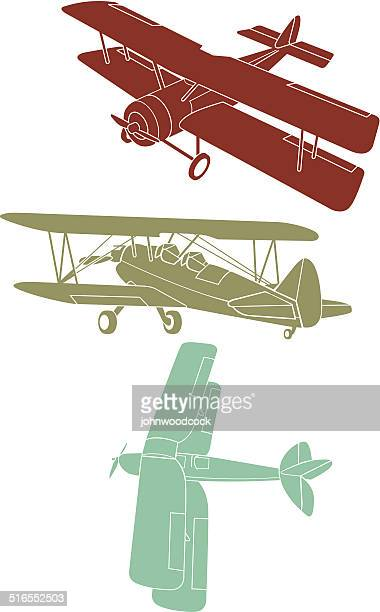aircraft silhouettes - biplane stock illustrations, clip art, cartoons, & icons